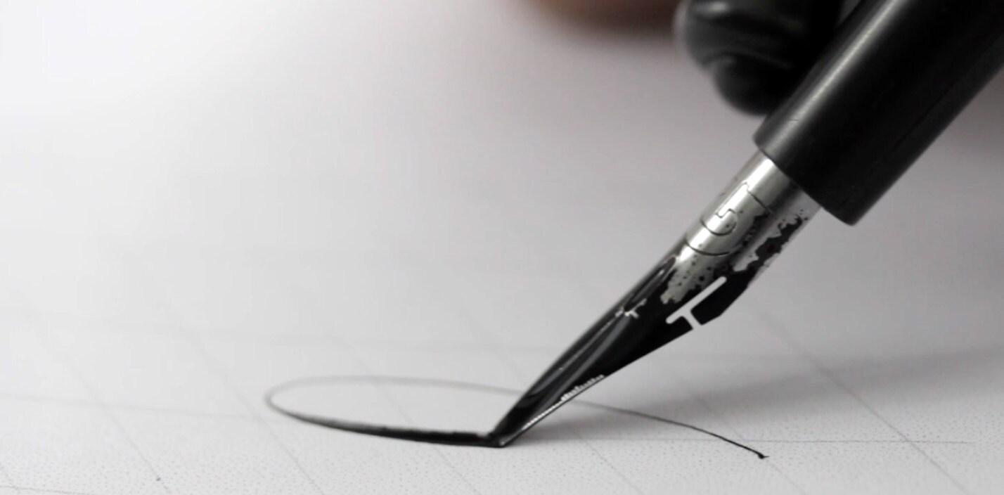 calligraphy nib bending