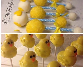 RUBBER DUCKY- 12 Rubber Ducky Sculpted cake pops in bright yellow  --PLUS--  12 matching Baby Rattle cake pops