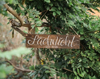 CUSTOM NAME SIGN   custom hand painted family name year established stained wood wedding gift housewarming christmas gift