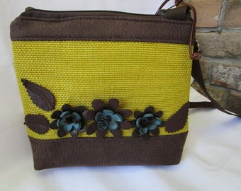 Small crossbody bag, Leather flowers crossbody bag, Nature inspired cross-body purse, Cross body bag with flowers