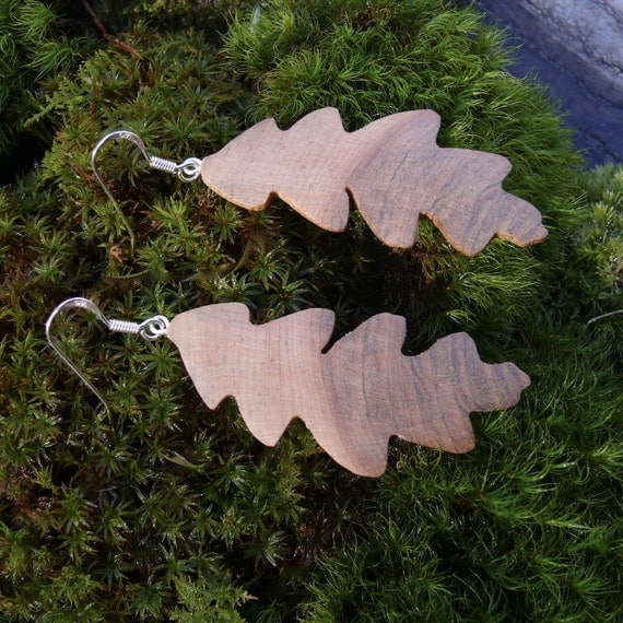 Oak Leaf Earrings, Silver leaf earrings, Boho earrings, Dangle drop leaf earrings, Nature lover gift, Oak leaf jewelry, Acorn Oak tree