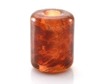 Pink Amber Handmade Glass Lampwork Bead