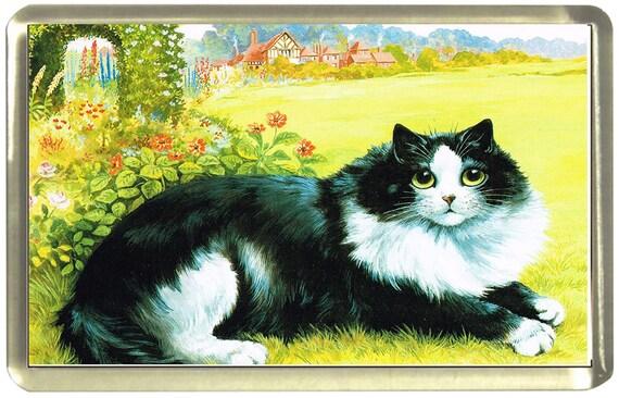 Louis Wain Black & White Cat Fridge Magnet 7cm by 4.5cm