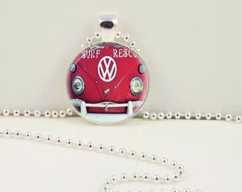 Surf Rescue VW Bus Pendant or Key Chain