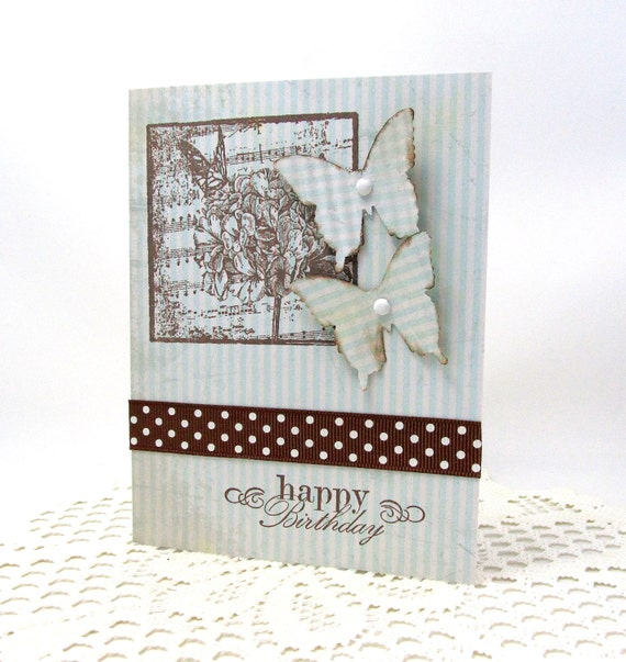 Spring Birthday Card - Butterfly Birthday Card - Happy Birthday - Light Blue and Brown Card - Happy Birthday - Blank Card - Butterflies
