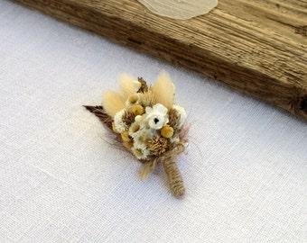 Rustic Boutonniere from dried flowers Groom Groomsmen, Woodland Meadow Weddings Man's accessory