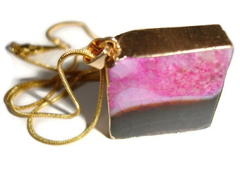 Druzy Necklace Agate Gemstone Necklace Pink Crystal Necklace Large Agate Slab Necklace Agate Necklace Square Gemstone large Gemstone drop