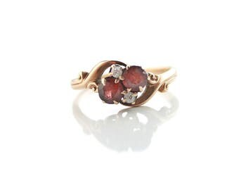 Antique 14k Rosy Gold Garnet and Diamond Ring Size 5.25
