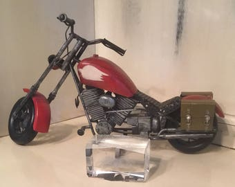 Motorcycle Statue and Harley Davidson Paperweight