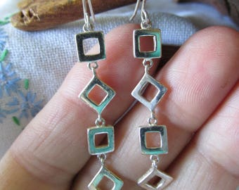 """Vintage STERLING DANGLING Cube Pierced EARRINGS Marked 925 Measures 2"""" L x 3/8"""" W Ladies Collectible Gift Birthday Anniversary Bridesmaid"""