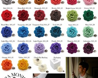 Men's Lapel Flower_Satin Rose (Clutch Pin) available many colors - 1.75 inches (4.5 cm)
