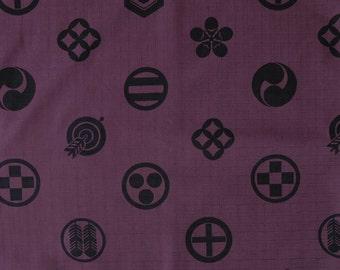Kamon Crest Large Deep Purple Japanese Cotton Fabric Per 50cm  TG129