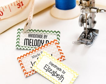 """Custom, Personalized, Fabric Labels Sew-on, Iron-on Chevron Design, 80 Labels  2 x 1"""" Uncut • Name Added • Colorfast 100% Preshrunk Cotton"""