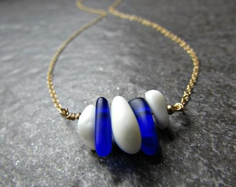Blue and White Sea Glass Necklace in Sterling Silver, 14K Yellow Gold Filled or Rose Gold Filled- Beach Glass Ocean Gift- Penn State Jewelry