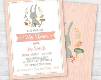 Woodland Animals Bunny Rabbit Baby Shower Invitation