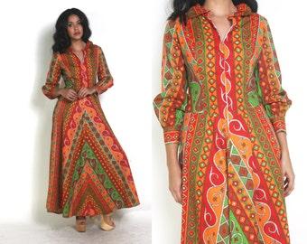 Vintage 70s Striped Geometric Op Art Psychedelic Long Sleeve Maxi Dress Hippie