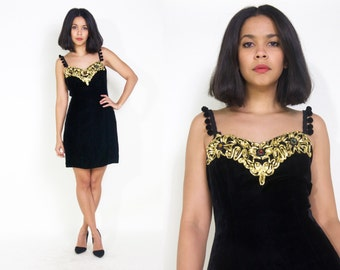 Vintage 80s Black Velvet Mini Dress Metallic Gold Ribbon Appliqué Rhinestones Pom Pom Straps Cocktail Party Glam