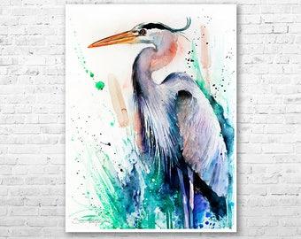 Great blue heron watercolor painting print by Slaveika Aladjova, art, animal, illustration, bird, home decor, wall art, gift, farm