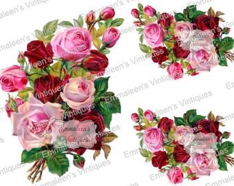 Vintage Image Shabby Pink Rose Flower Floral Bouquet Waterslide Decals FL489