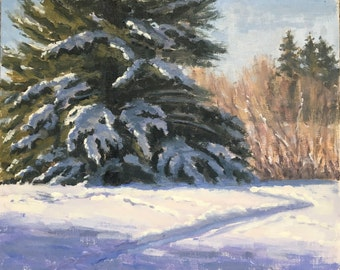 Winter Extraordinaire - Original contemporary Landscape painting - Oil Painting