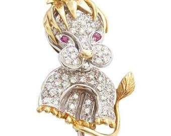 French Ruby Diamond Gold Lion Cub Brooch