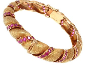 Ruser Ruby Gold Bangle Bracelet