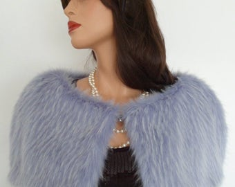 lilac fur capelet, white faux fur, fake fur stole, wrap, shrug, shawl
