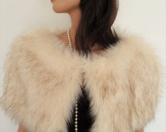 champagne fur capelet, cream fur stole, fake fur wrap, shrug, shawl, stole, cream brown fur