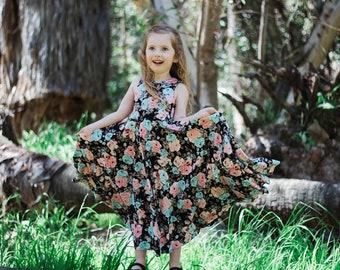 Girls' Pink and Blue Floral on Black Bespoke Dress