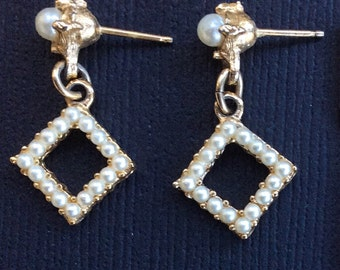 Vintage Faux Pearl and Gold-Toned Dangle Post Earrings