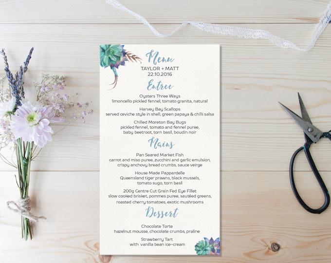 Wedding Table Menu Boho Succulent Design // Wedding Menu and place names // Floral Wedding Menu // Boho wedding menu // DIY Printable Menu