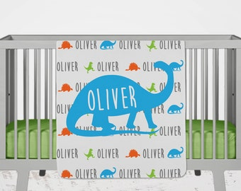Baby Name Blanket, Personalized Baby Gift, Dinosaur Name Blanket, Baby Boy Gift, Toddler Blanket, Personalized Baby Blanket, Dinosaur Room