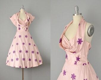 RESERVED: 50s Dress // 1950s Pink Cotton Shelf-Bust Embroidered Dress w/ Matching Jacket  // Medium