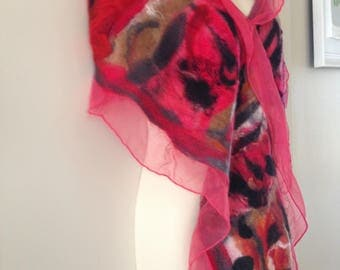 Elegant         Red lace nuno felted scarf