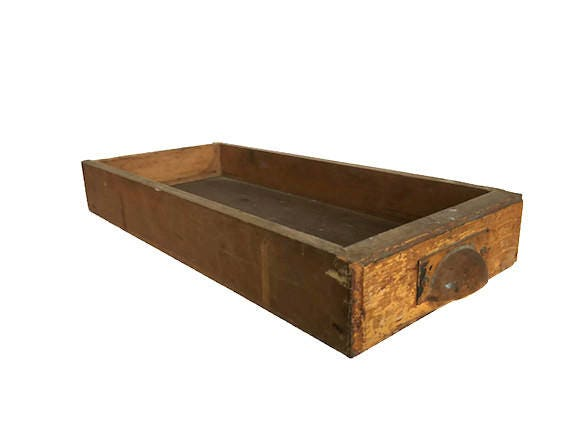 Old wooden drawer display box bin pull handle solid wood construction storage