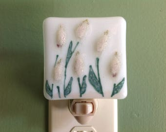 Flower, Spring Flowers, Floral, Night Light, Fused Glass,