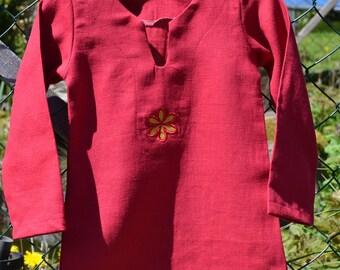 Shirt daisy flower linen red