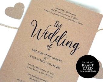 Rustic Wedding Invitation Template, Printable Invitation Template, Editable Wedding Invitation, Rustic Invite, Shabby Chic Invite, MM02-2