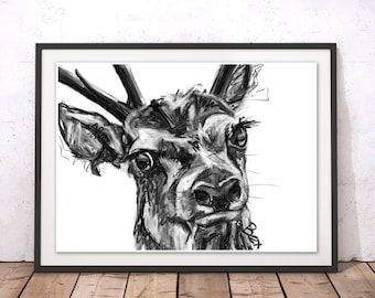 Deer Art Print Deer Wall Art Stag Charcoal Illustration Deer Black and White Home Decor Deer Wall Hanging Animal Print by Bex