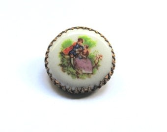 Vintage French Porcelain Brooch