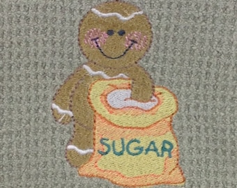 Gingerbread Man with Sugar - Hand Towel - Green Mist