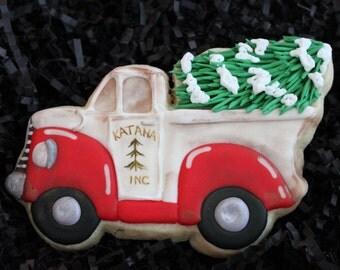 Truck Cookies, Christmas Cookies Personalized Christmas Cookie Custom cookies, Christmas tree cookies