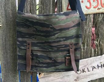 Camo. Vintage Canvas Messenger Bag, Cross Body Bag, Unisex Bag, Shoulder Bag, Military Bag, Tech Bag,Medic Bag,Book Bag, ipad bag, tote bag