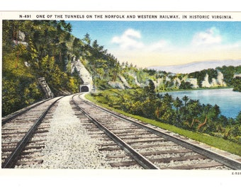 Vintage Railroad Postcard, Tunnel in Historic Virginia (unused)