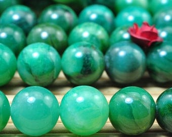 47 pcs of Natural Verdite smooth round beads in 8mm