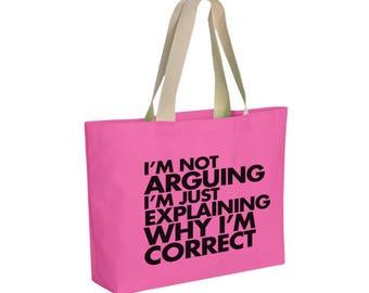 Reusable Handbag - Funny Reusable Library Book Bag - Teen Gift Bag - Reusable Wide Cotton Canvas Tote - Item 1720 - Black Ink