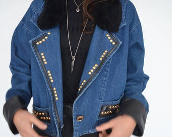 Vintage 80's oversized denim jacket with faux fur, studs and faux leather trim - AWESOMMMMEEE Large