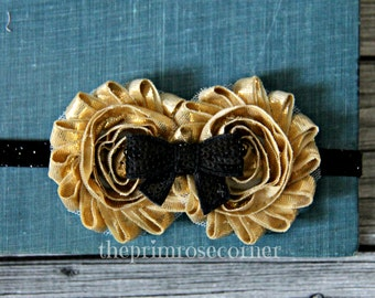 Black and Gold Headband. FREE SHIPPING. Black Headband. Flower Headband, Newborn Headband. Gold