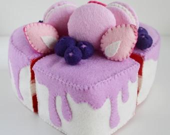 100%Acrylic Felt Red Velvet Heart Shaped Cake- Pretend Play- High Tea For Three