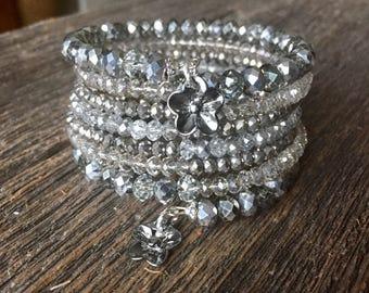 Silver Spring Sparkler Faceted Glass Crystal Multi Strand Memory Wire Wrap Bracelet